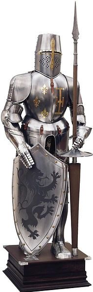 A picture of a suit of armor with a shield and pike.
