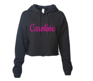CAROLINE Glitter Logo Cropped Hoodie Sweatshirt
