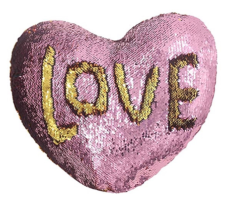 Pillow - Pink and Gold SEQUIN Flip Heart