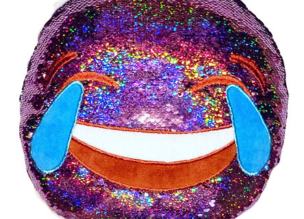 Pillow - Purple/Multi-color SEQUIN Flip EMOJI