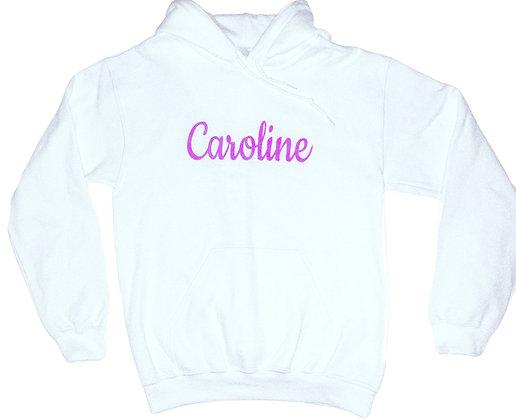 CAROLINE Glitter Logo Hoodie Sweatshirt