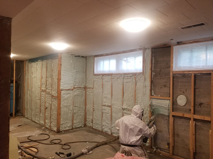 applying closed cell spray foam to basement walls in Halifax, NS