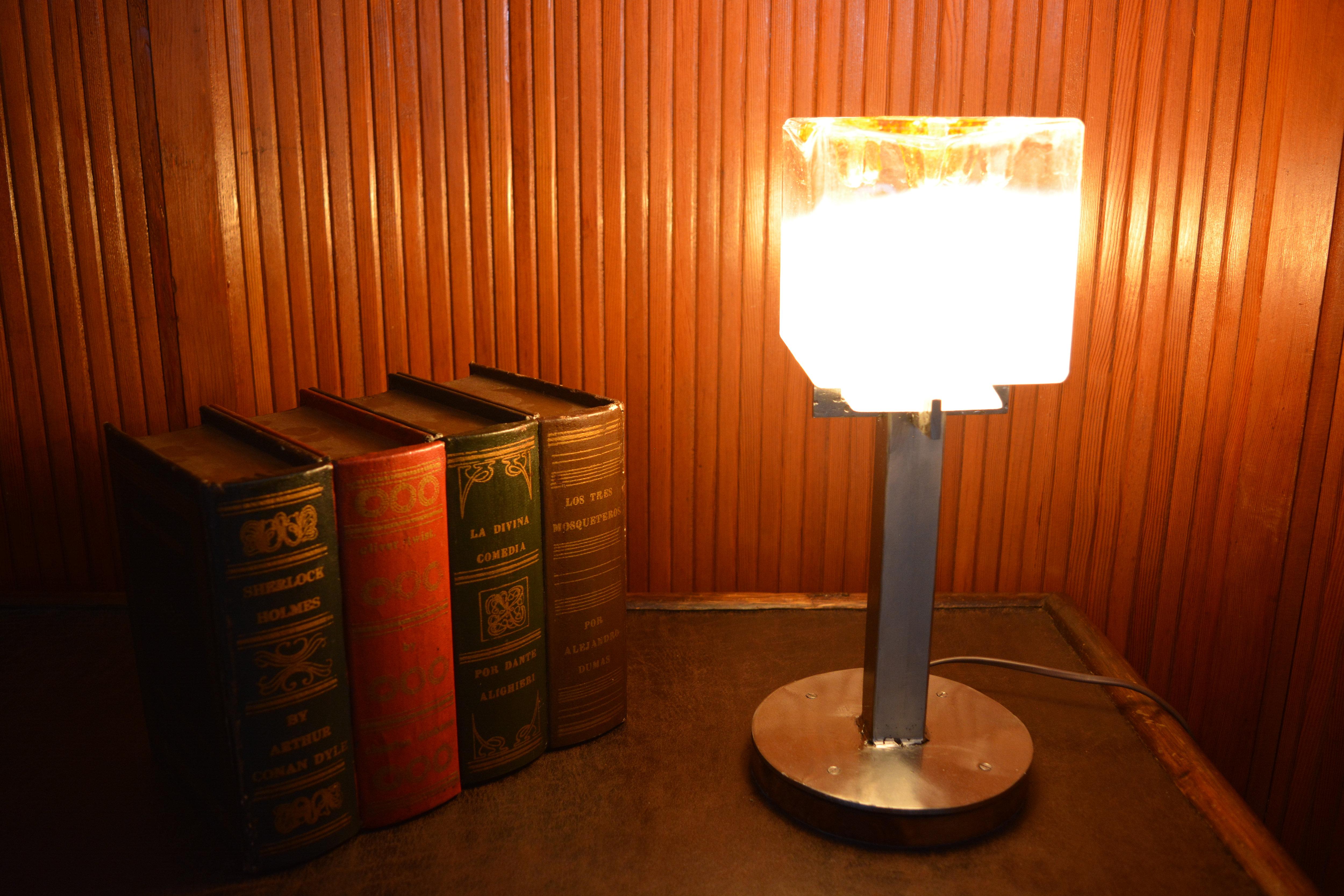 Lampe Cube Opalescent Vintage