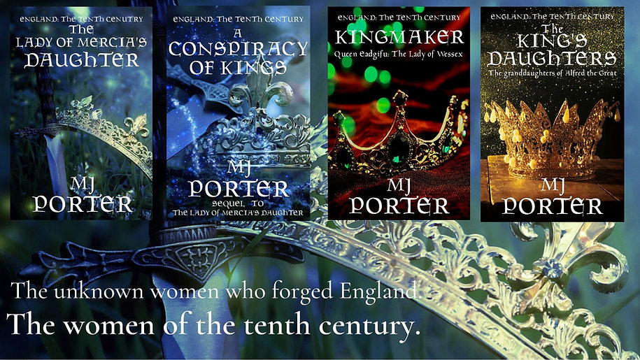 A graphic showing the covers for The Tenth Century books. Crowns on different backgrounds.