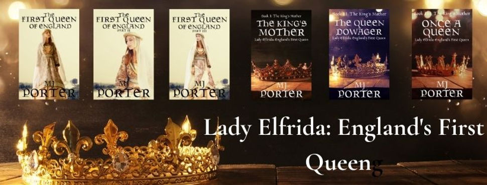 Covers for the 6 books about Lady Elfrida. 3 show a woman, 2 show different crowns.
