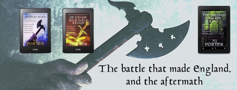 A graphic showing the covers for The Chronicles of The English books. An axe, a sword, a royal chair
