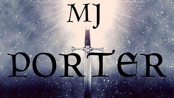An image of a sword with the name, M J Porter, written over it.