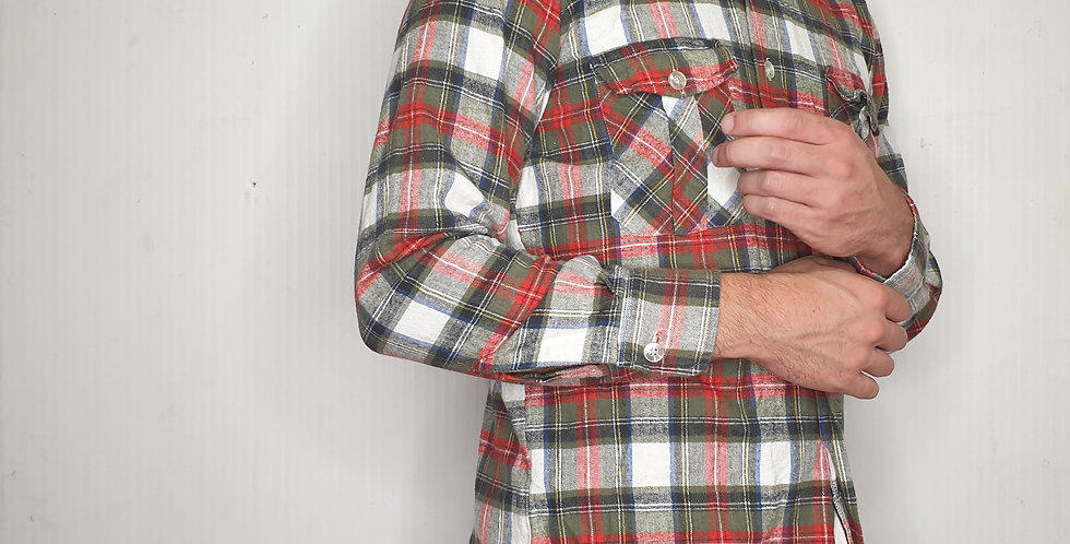 White Green and Red Flannel (Medium)