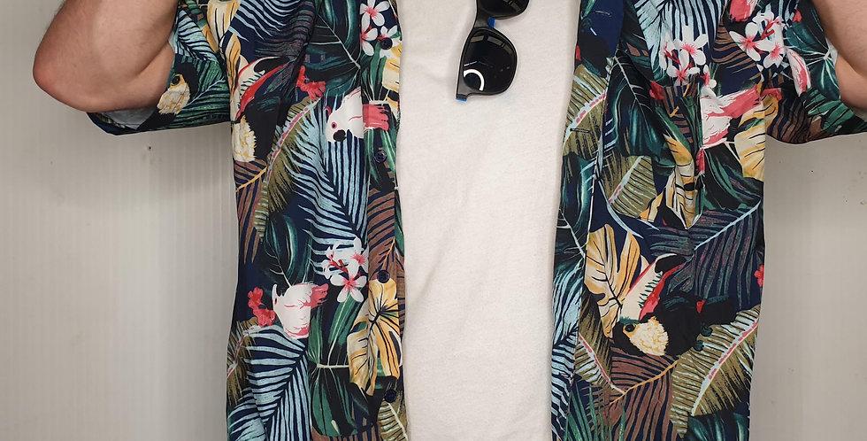Navy Hawaiian Print Shirt (XL)