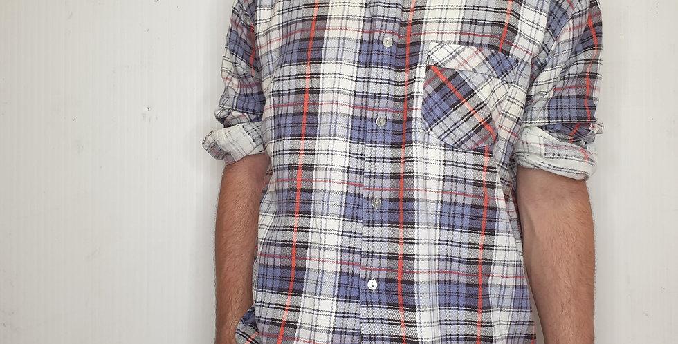 Vintage Sumavan White Checkered Flannel (Large)