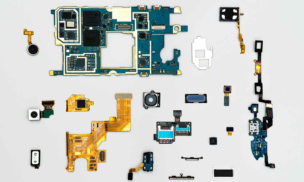 technological parts on grey background