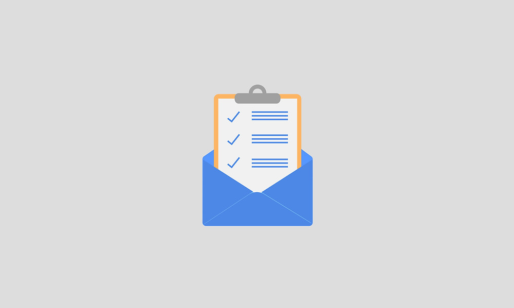 checklist in envelope over grey background