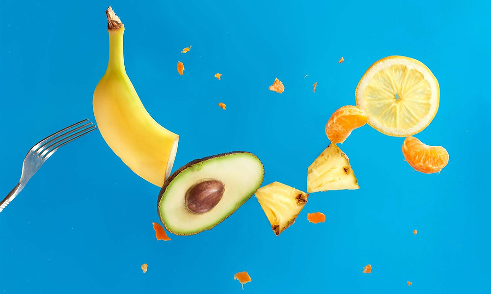 different foods and ingredients on blue background