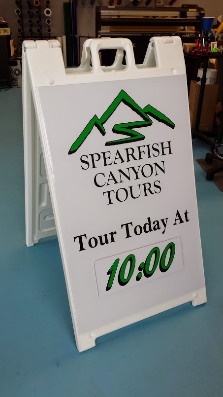 Spearfish Canyon Tours Sidewalk Sign
