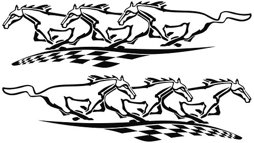 Horses with Checkered Flag