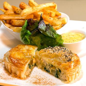 Fish and Kumara Pie with Fries and Wholegrain Mustard Hollandaise