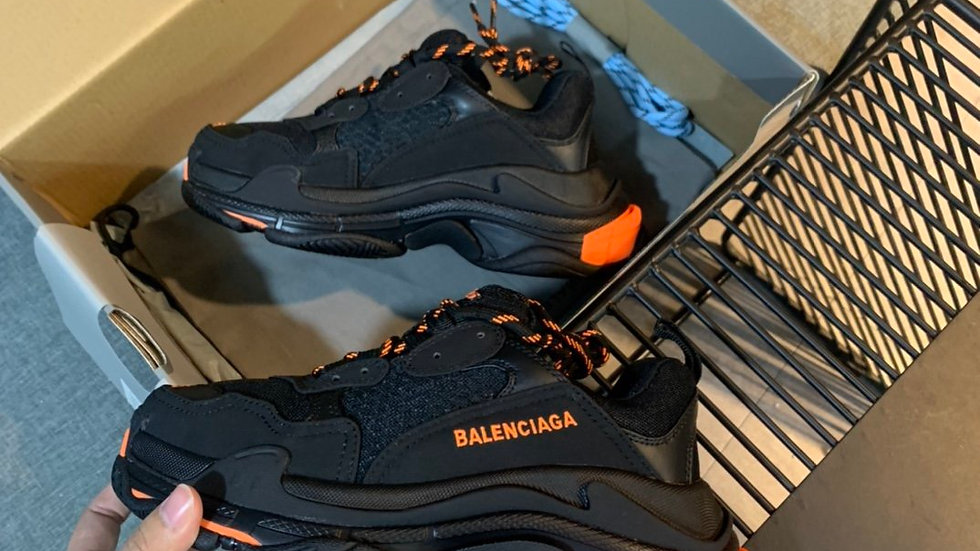 Balenciagia Orange and Black Triple S