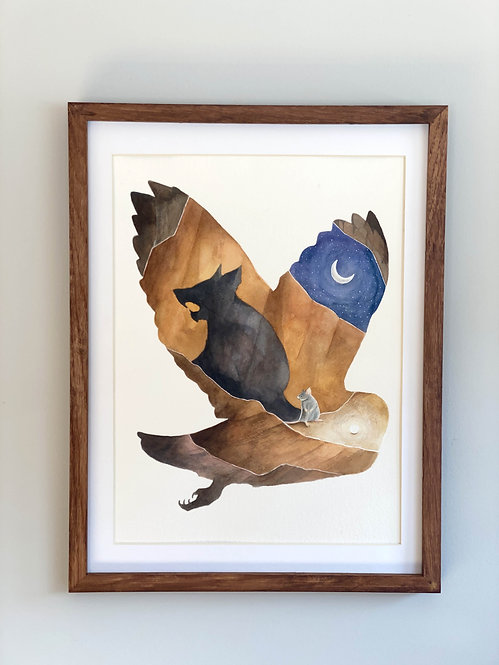 The Moon - Original Framed Watercolor Painting