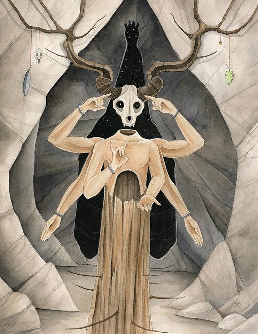 Cavekeeper - Original Framed Watercolor