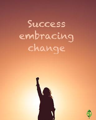 woman success change arm in the air logo