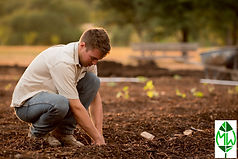 Young man with hands in soil with logo.j