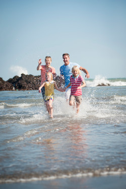Family on Devon beach