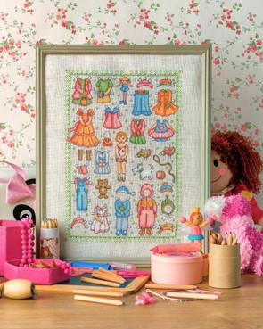 cross stitch in girls bedroom