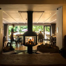 Modern woodburner in a restaurant