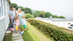family at holiday park in devon