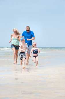 family on hayle towans in cornwall