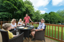 Family on decking
