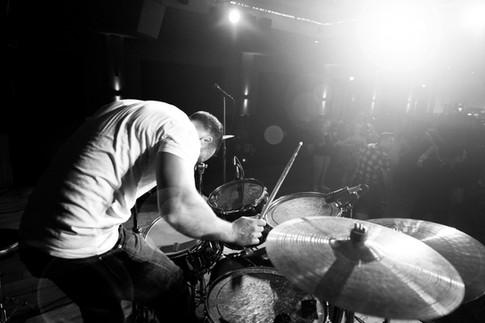 rockband drummer on stage