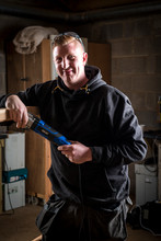 carpenter with power tool