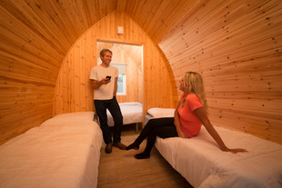 couple in holiday pod