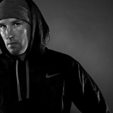 Athlete dressed in hoodie
