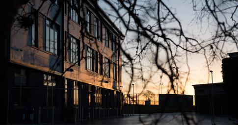 school building at sunrise