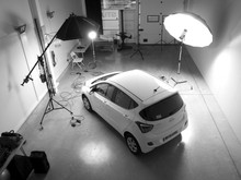 car being photographed in studio