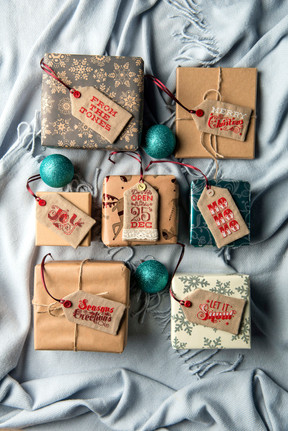 gift wrapped boxes and name tags