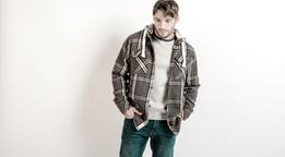 male fashion model against white background