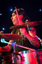 rock drummer on stafge