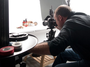 photographer shooting products in studio
