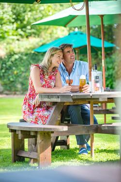 Couple in beer garden