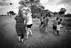 english teenagers meet african children