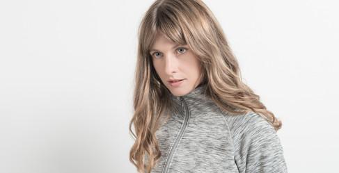 fashion model against a white backdrop