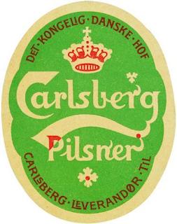 הלוגו של בירה קרלסברג הדנית שעוצב מחדש ב 1904,מכיל בתוכו מאפינים קלאסיים של הארט נובו קווי המטהר של הלוגו, הפונט המסולסל מעט ובעיקר השימוש בעלים בעלי אונות.