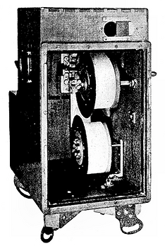 Louis Le Prince Single Lens Combination Camera Projector Type-1 MkII (LPCCP Type-1 MkII). It was used to film the first movie ever made, Roundhay Garden Scene in Leeds in 1888. It shows the back or rear of the camera.