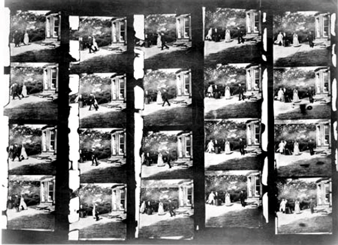 Louis Le Prince's Roundhay Garden Scene frames copy 1931 from the National Science Museum London. It shows 20 frames of film from the world's first movie.