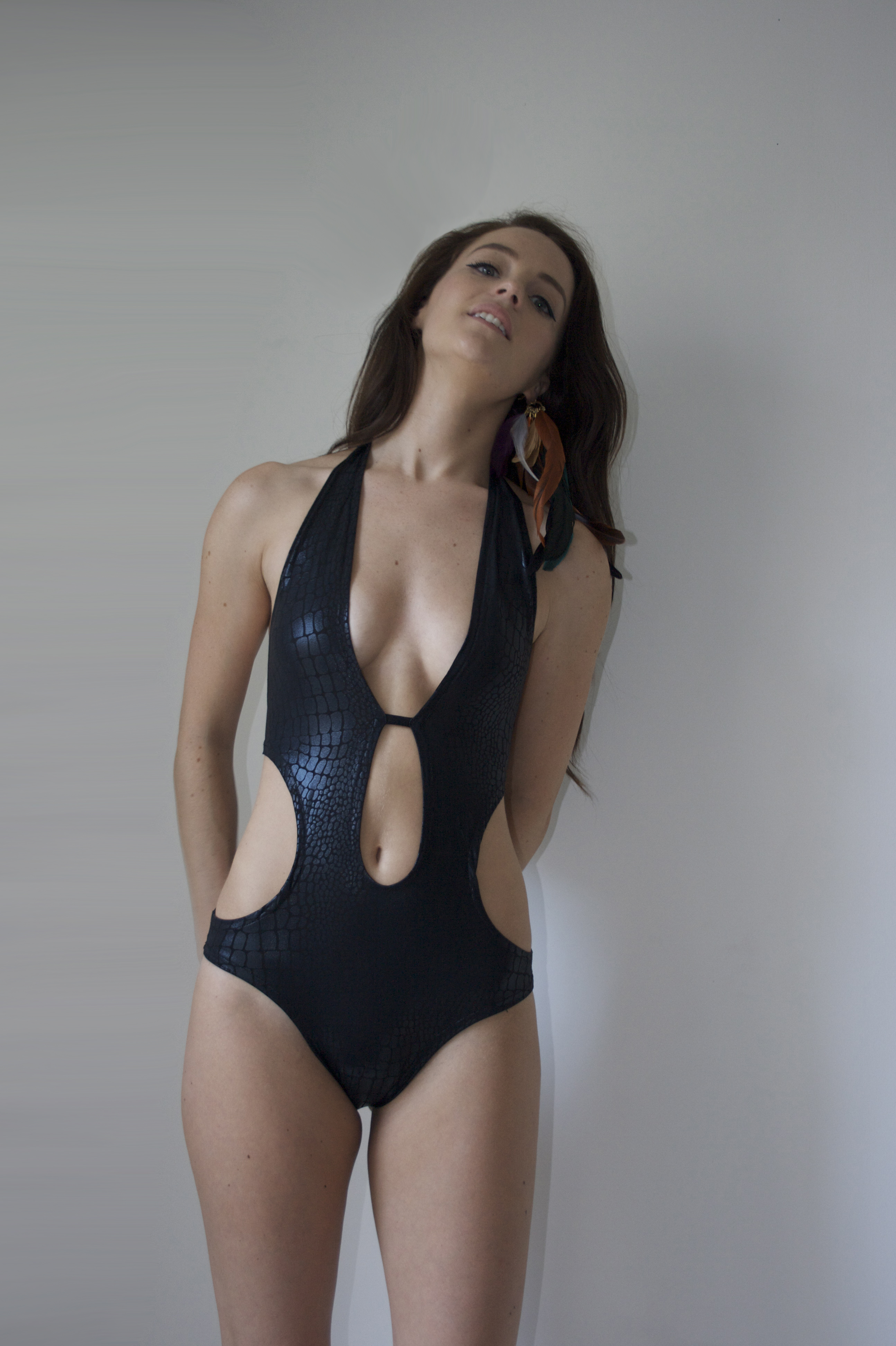 SS14 - Black Snakeskin Swimsuit