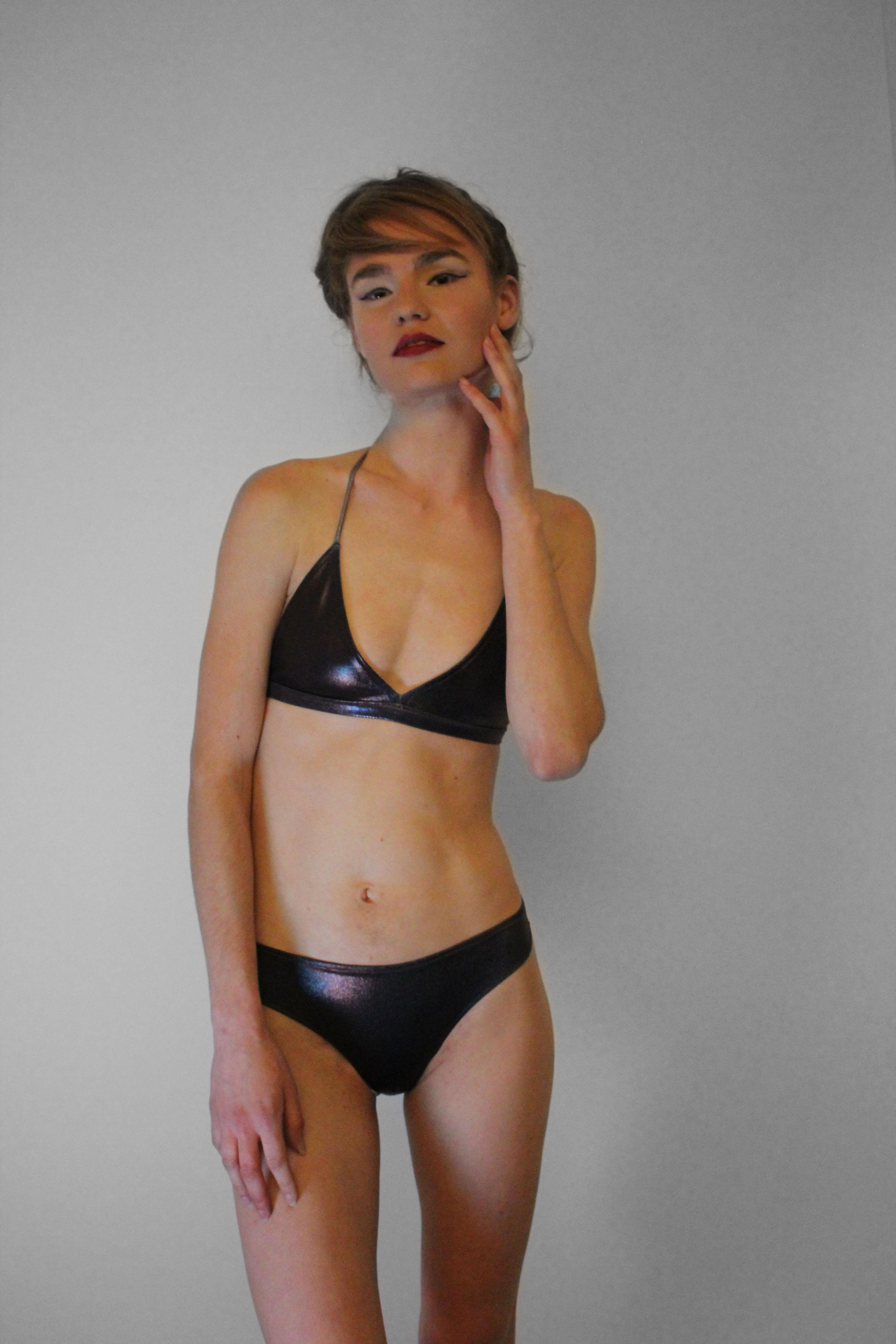 SS18 - Brown Shinny Bikini Set