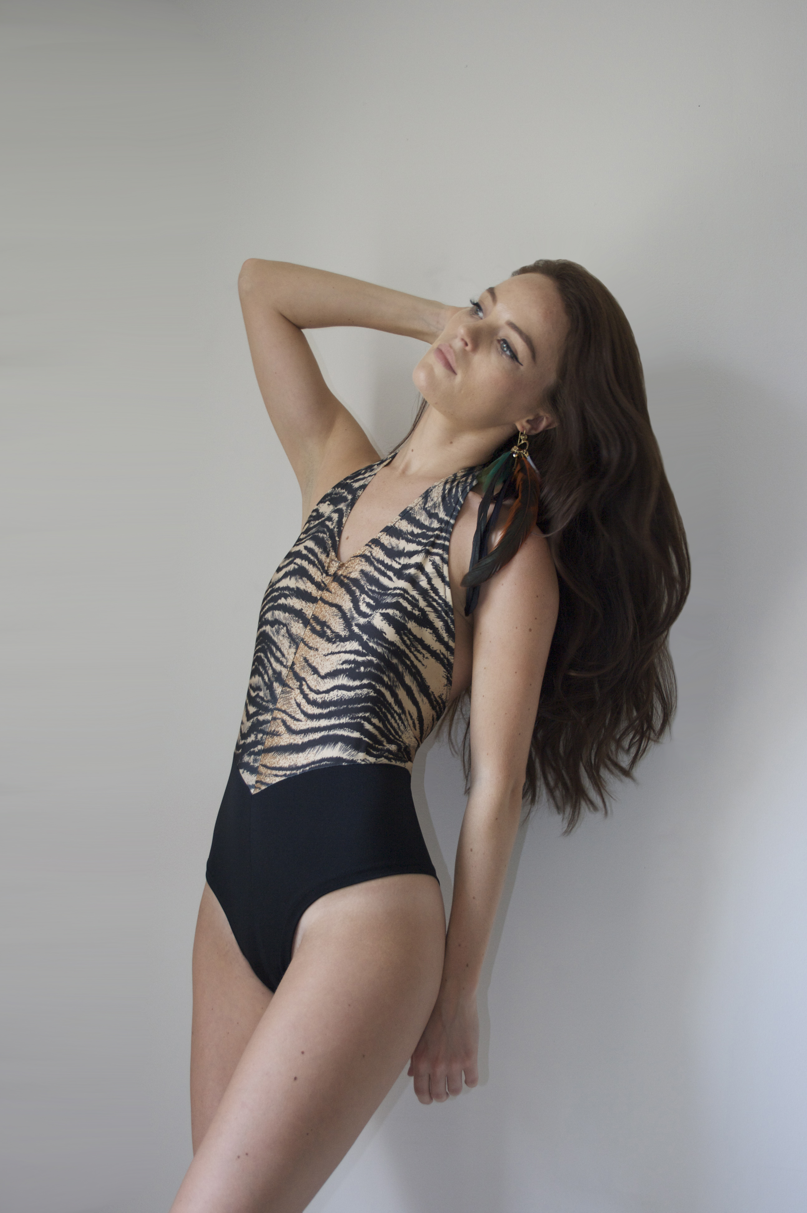 SS14 - Blk and animal print Swimsu